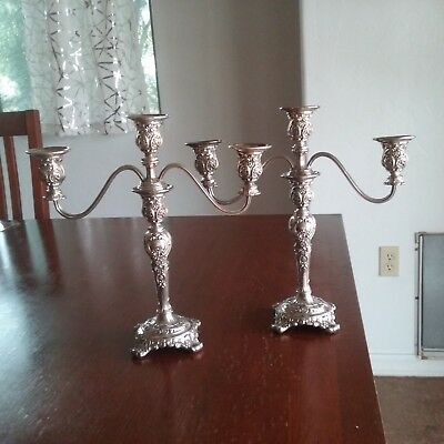 William Rogers Victorian-style Silver Plate Candlesticks/Candelabra 3 Arm, Heavy