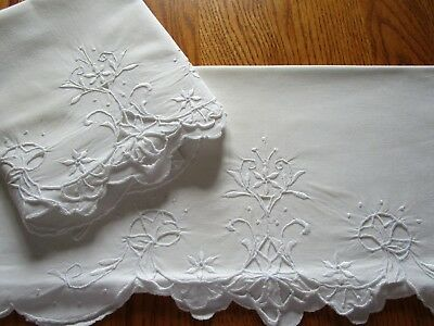 Vintage  Embroidered Cut Work Pillowcases White On White
