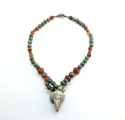 Antique Chinese Jade Cornelian Buddha Finger Bead Necklace Sterling Silver 18""