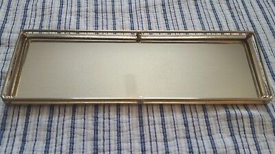 Antique Dresser Vanity Mirror Tray With Gold Tone Metal Detail