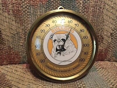 Vintage Antique Bull Dog Pure Repair Thread Tin Non Porcelain Thermometer Sign