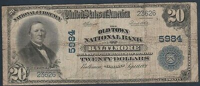 1921 $20 *Baltimore, MD*CH# 5984 Large National Bank Note *Free S/HAfter 1stItem
