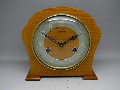 Vintage Smiths 8 Day Mantel Clock Striking Floating Balance Blonde Light Wood