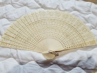Vintage Celluloid Fan With Box Glass Top