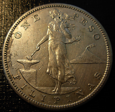 Philippines 1908 S Silver Peso Circulated