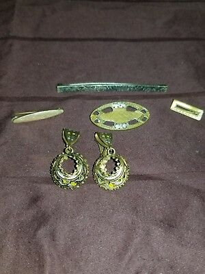 Vintage Art Deco Victorian Clip Back Earrings & Pin Lot Sterling Silver Bar Pin!