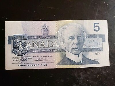 1986 Canadian $5.00 Bank Note, Not Graded ALN7736284