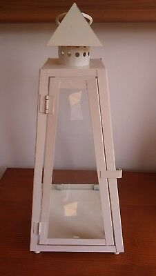 Cream Painted Metal Candle Holder Lantern Glass Panels & Door, Pick Up Barnsley