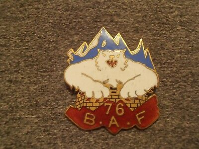 Rare Insigne 76 Baf Bataillon Alpin Forteresse Gros Ours
