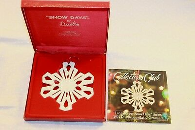 Longaberger Collector Club 2001 Snow Days snowflake Christmas Ornament New box