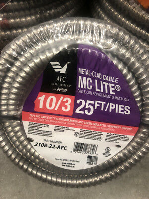 AFC Cable Systems 2108-22-AFC 10/3 x 25 ft. Solid MC Lite Cable