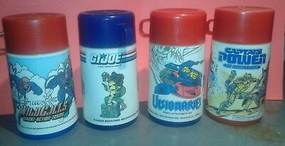 Vintage Lunch Box Thermos Lot of 4 Wildcats Visionaries G.I. Joe Capt Power