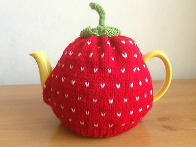 Hand knitted strawberry  tea cosy