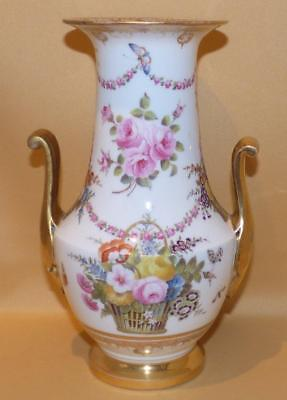 Paris Porcelain Handpainted Flowers Vase C1850-70