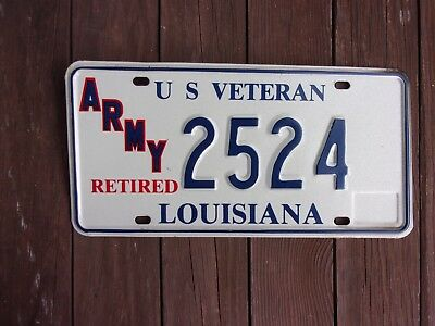 1993 Louisiana Army Veteran Retired License Plate 2524
