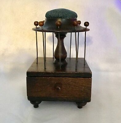 Vintage, Antique Wooden Sewing Caddy Drawer, Pin Cushion, Thread Holder