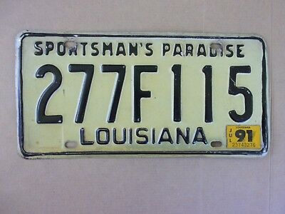 1991 LOUISIANA Sportsman's Paradise License Plate 277F115