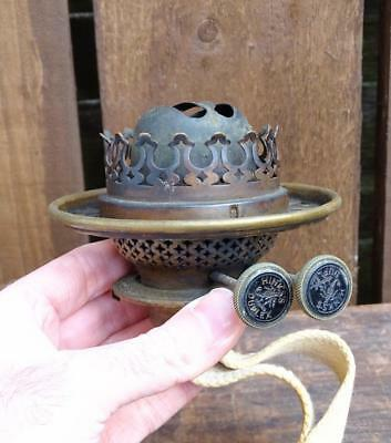 Antique Victorian Brass Hinks Duplex Oil Lamp Double Burner, Black Wick Knobs