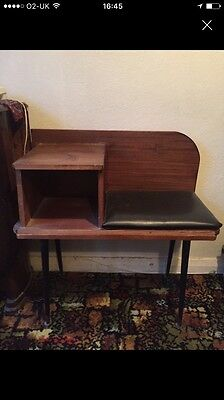 Vintage Retro 1950's 1960's Solid Small Telephone Table With Removable Legs