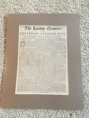 1758 Issue THE LONDON CHRONICLE Pre Revolutionary War Historical Colonial