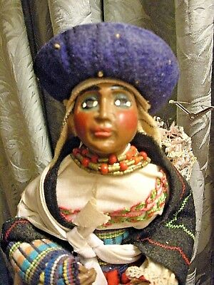 Vtg Soulful Quito Ecuador  Indigenous Woman Native Folk Art Wood Carved Doll