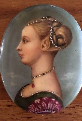 Firenze Red Porcelain Hand painted Portrait Piero del Pollaiuolo plaque oval Kpm