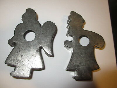 2 Antique 19th C Primitive Folk Art Santa & Angel Tin Cookie Cutters Christmas