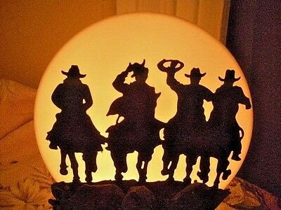 Vtg Cattle Round - Up Drive Western Riding Cowboys Silhouette Full Moon Lamp