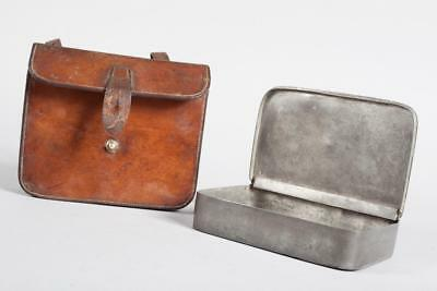 """Vintage~ c1910~ """"James Dixon & Sons"""" Pewter Sandwich Hunting Tin In Leather Case"""