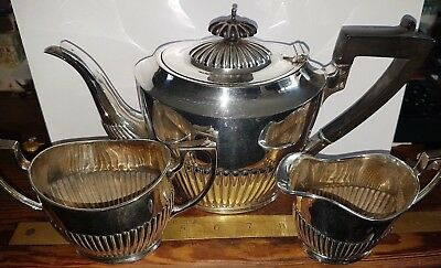 Antique Silver Plated 3 Piece TeaSet Lee+Wigfull Sheffield England post 1899
