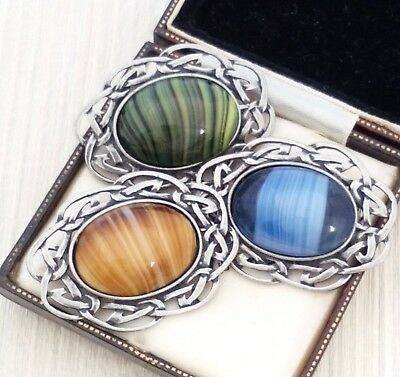 Vintage - Job Lot 3 Striped Agate Glass Cabochon Celtic Pewter Brooch Pin