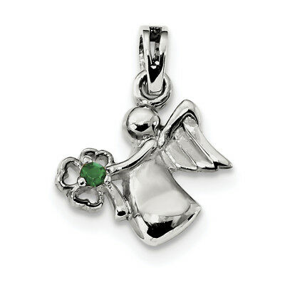 Sterling Silver Green Crystal Angel w/Clover Pendant QC9249