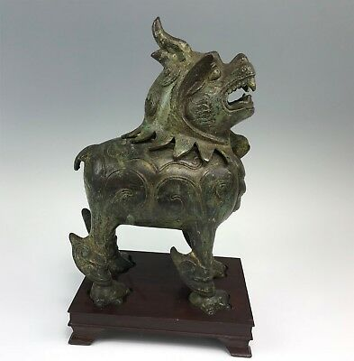 Bronze Chinese Full Figural Foo Dog Censer on Wood Stand