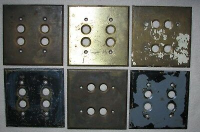 LOT OF 6 VTG SALVAGED BRASS DBL PUSH BUTTON SWITCH PLATE COVERS w BEVELED EDGES
