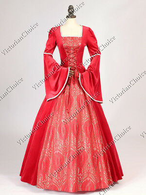 Medieval Renaissance Queen Red Velvet Dress Theatrical Cosplay Clothing 129