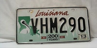 Bicentennial  Louisiana license Plate,  200 Years 1812-2012 ,  Pelican