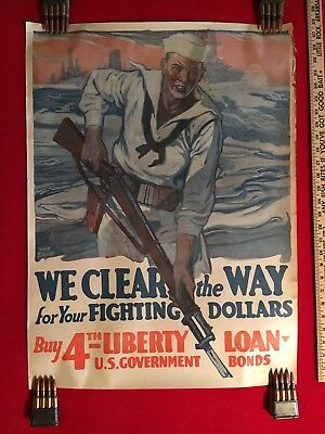 "WWI Poster ""WE CLEAR THE WAY  for Your FIGHTING DOLLARS! 4th Liberty Loan"" Exc!"