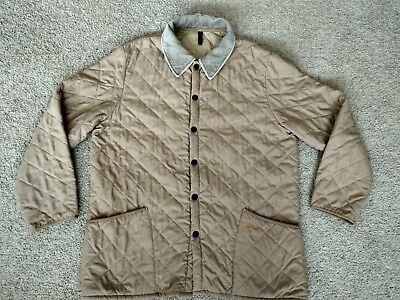 Men's Vintage Barbour Liddesdale Beigh Quilted Classic Jacket Size XL