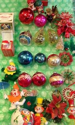 Vintage Lot Of 30 Assorted Christmas Ornaments Decorations INCLUDES Shiny Brites