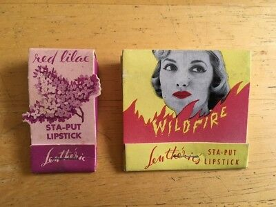 "Vintage 50s Lentheric ""STA-PUT"" Lipstick in Matchbook form, wonderful graphics!"