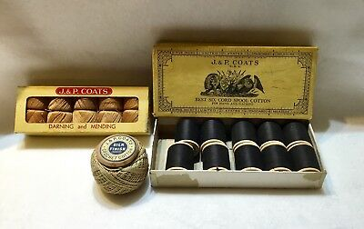 Vintage Lot Of J &P Coats  Thread Sewing, Mending And Crochet. GREAT GRAPHICS