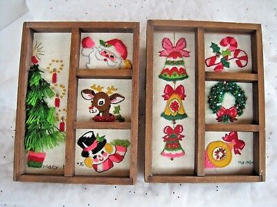 2 Hand Embroidered Vtg Christmas Wall Decorations Made From Kit Shiny Brite Orn.