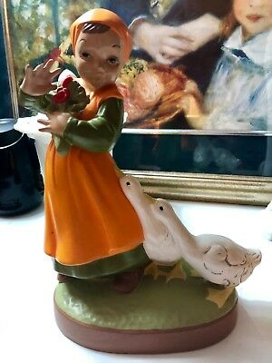 Vintage 1960's Holland Mold Girl Holding Flowers with Geese Ceramic Figurine