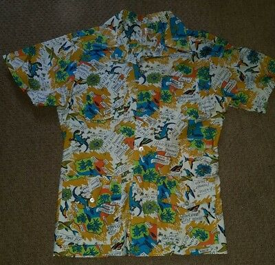1950s Style Rockabilly Hawaiian Barbados style Floral Shirt Size  S chest 38