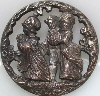 """1940s French White Metal Button """"THE CHRISTENING"""" Kate Greenaway Vintage Antique"""