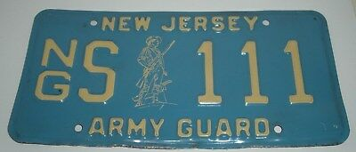 """Vintage, New Jersey Army National Guard, License Plate """"NGS-111"""""""