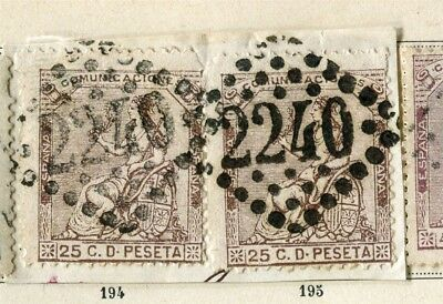 SPAIN; 1873 classic Peace issue fine used 25c. value, FRENCH POSTMARK PIECE pair
