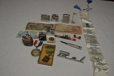 Junk Drawer Estate Lot Old Lighters, Military, Currency, Gettysburg Souveniers