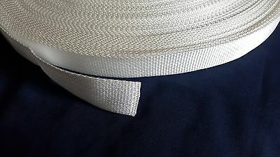 """Polypro Webbing 5 Yards of 1"""" White Lightweight Strapping Trim Crafts Sewing"""