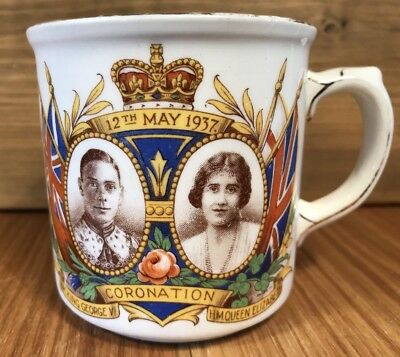 Coronation Mug King George VI, H.M Queen Elizabeth 1937, unclear mark underneath